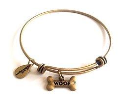 Bella Ryann Dog Bone Woof Gold Charm Bangle Bracelet [Jewelry]