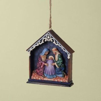 Jim Shore Christmas 4025303 Holy Family in Stable Ornament