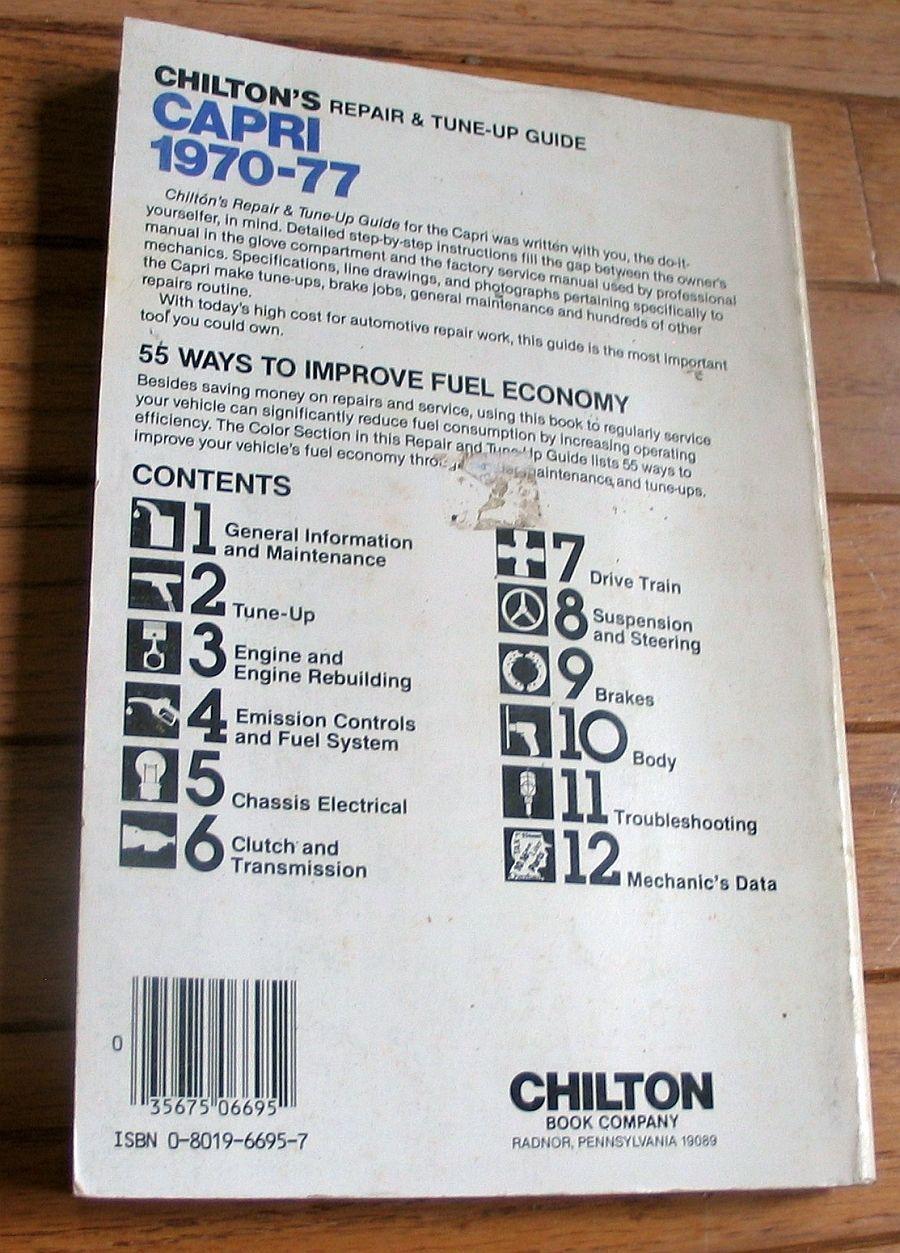 Ford CAPRI 1970 to 1977 #6695 shop manual repair and tune-up **REAL NICE!**