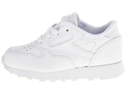 Reebok Infant/Toddler Classic Leather Shoe in White is Sizes 2 to 10