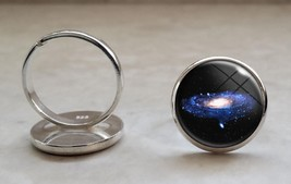 925 Sterling Silver Adjustable Ring Galaxy Astronomy Space Science - $34.65