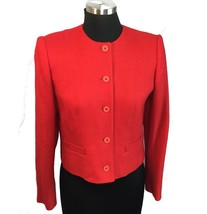 Evan Picone Red Tonal Tweed Wool Crop Jacket Button Front No Collar ILGWU 6 - $39.11