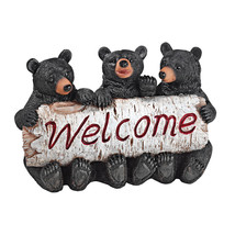 Black Bear Cubs The Three Bears Trio Welcome Sign Home Garden Sculpture - $54.40