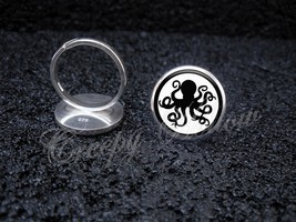 925 Sterling Silver Adjustable Ring Octopus Silhouette Spy Secret Agent - $34.65