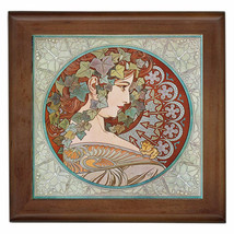 """Alphonse Mucha Reproduction Ceramic tile 6"""" inserted in wood framed 7.5X... - $18.00"""