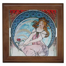 "Alphonse Mucha Reproduction Ceramic tile 6""  inserted in wood framed 7.5... - $18.00"