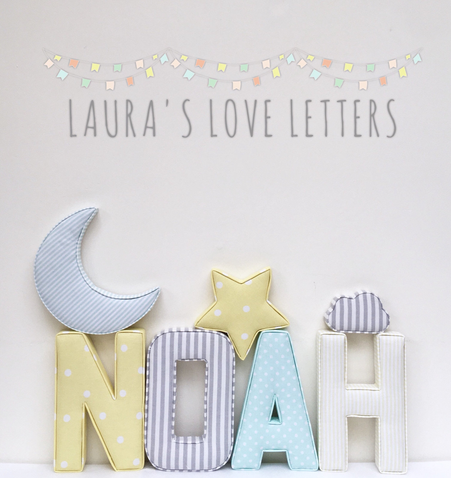 Fabric Letters Personalised Initial Name Baby Room Nursery Gift