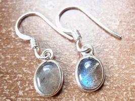 Small Labradorite Oval Ellipse 925 Sterling Silver Dangle Earrings New 760a - $10.44