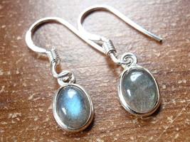 Small Labradorite Oval Ellipse 925 Sterling Silver Dangle Earrings New 760n - $10.44