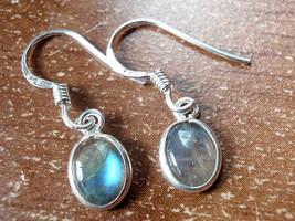 Small Labradorite Oval Ellipse 925 Sterling Silver Dangle Earrings New 760r - $10.44
