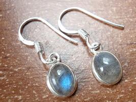 Small Labradorite Oval Ellipse 925 Sterling Silver Dangle Earrings New 760d - $10.44