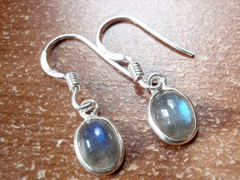 Small Labradorite Oval Ellipse 925 Sterling Silver Dangle Earrings New 760f - $10.44