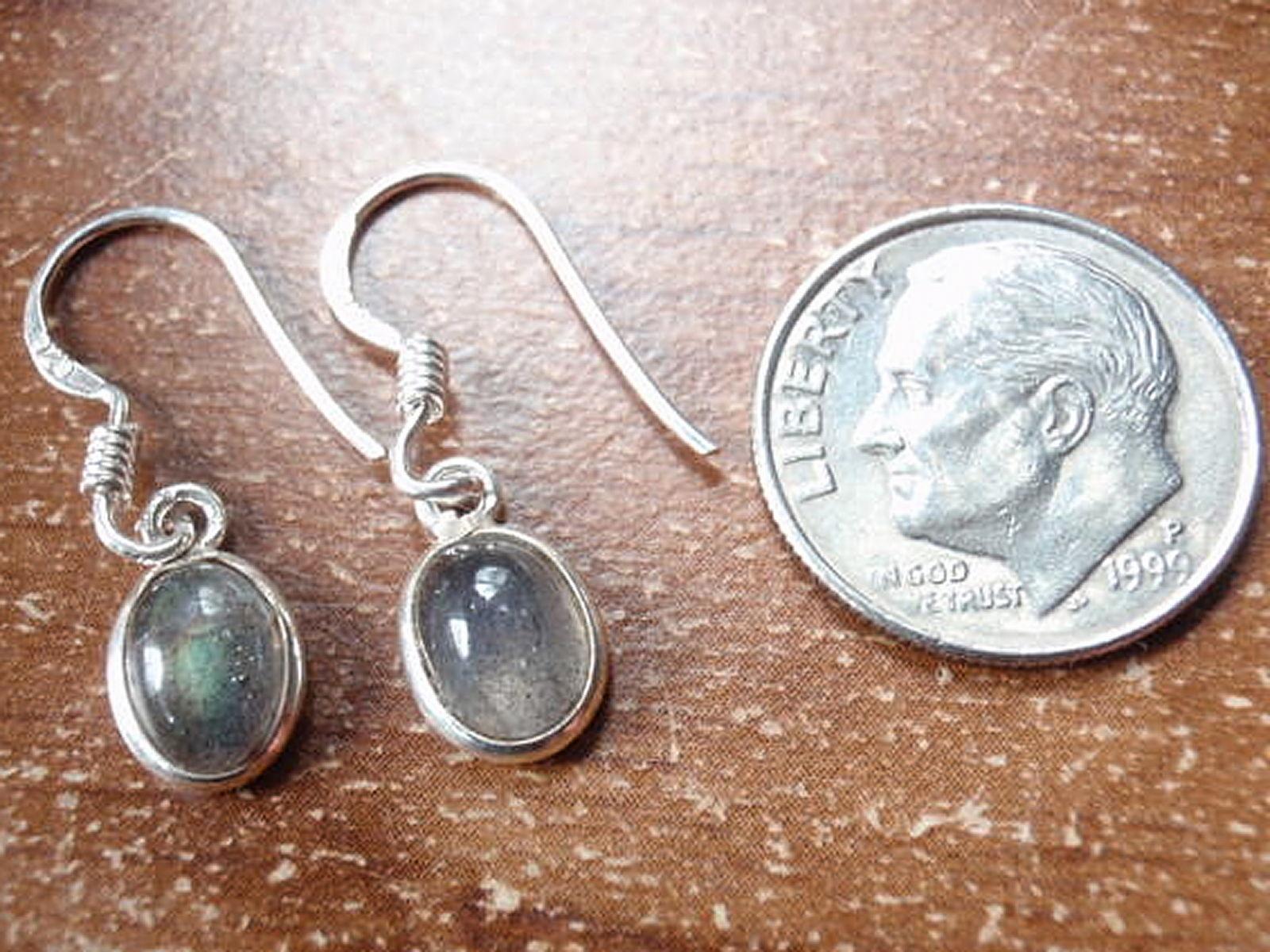 Small Labradorite Oval Ellipse 925 Sterling Silver Dangle Earrings New 760j