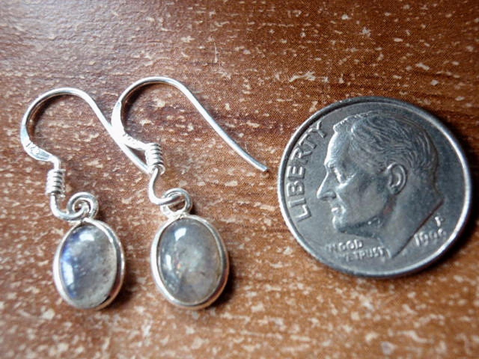 Small Labradorite Oval Ellipse 925 Sterling Silver Dangle Earrings New 760L