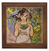 "Alphonse Mucha Reproduction Ceramic tile 6""  inserted in wood framed 7.5... - $18.00"