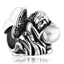 Enchanted Pearl Angel Fairy tale Princess butterfly Charm bead F/Europ b... - $15.99