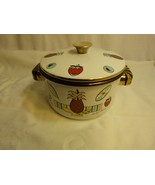 Vintage Georges Briard Designer Enamel Cookware Pot & Lid Ambrosia Pinea... - $17.98