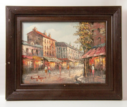 Signed Henry Rogers, Paris Street scene 20th oi... - $123.75