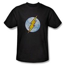 Simply Superheroes Mens the flash neon distressed logo mens black t shirt Large - $19.99