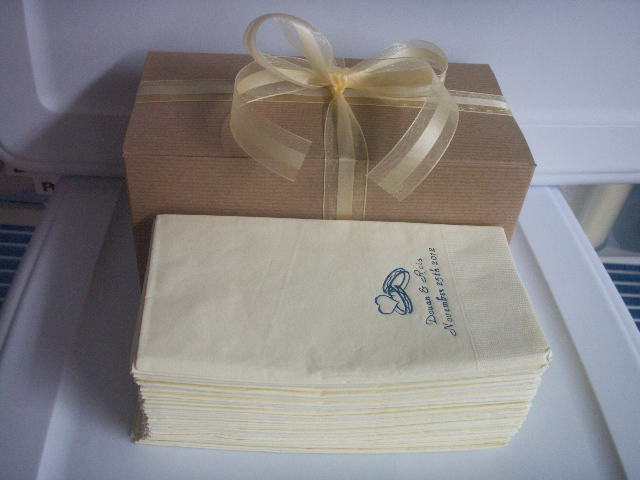 24 HOUR process 50 PERSONALIZED guest towels dinner NAPKINS WEDDING in gift box