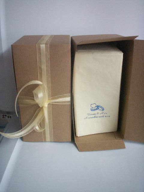 24 HOUR process 50 PERSONALIZED guest towels dinner NAPKINS WEDDING in gift box image 4