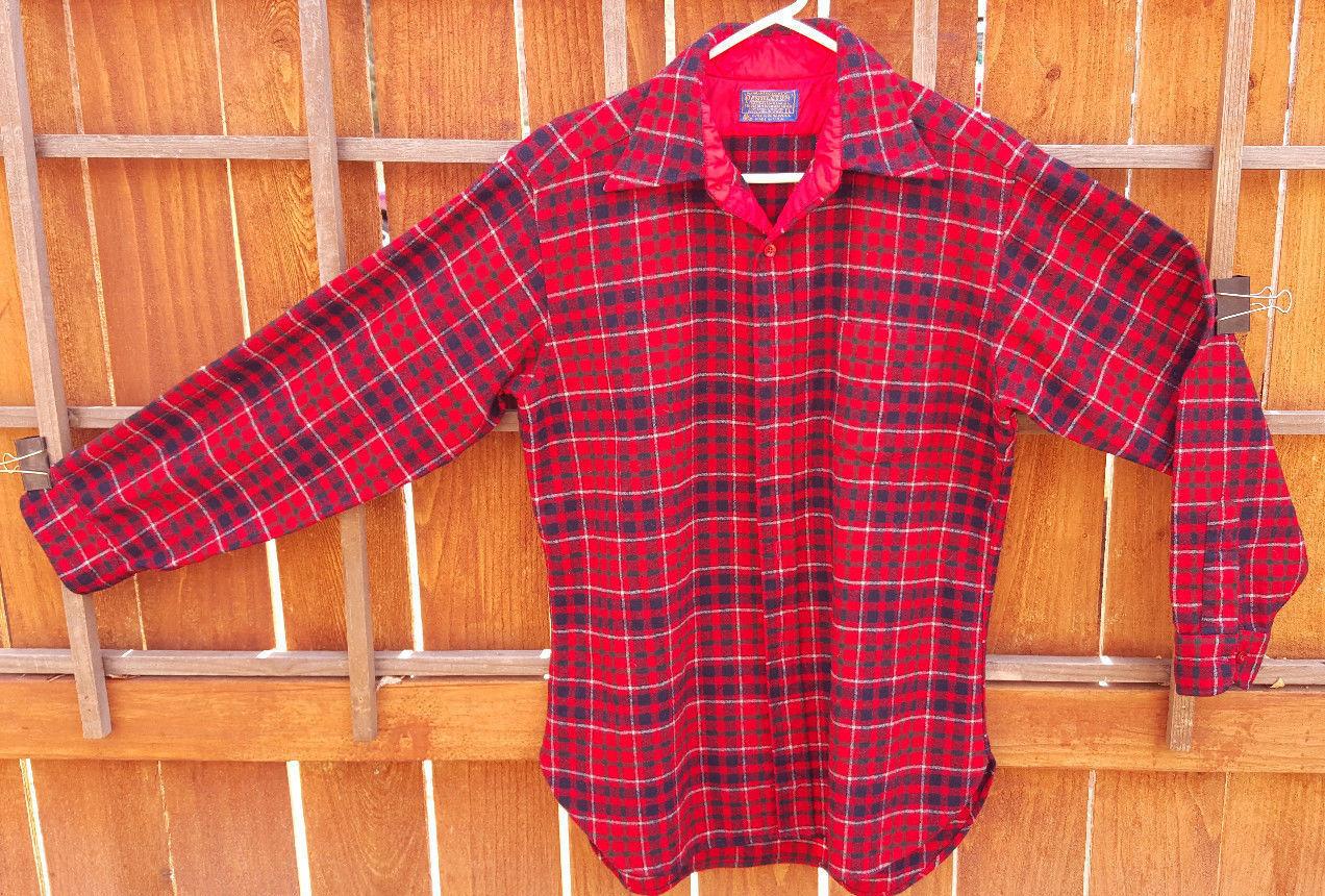Vintage 90s Pendleton 100/% Silk Orange Red Hawaiian Camp Shirt Size L