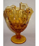 "Amber Color Glass Vase Bowl  Compote/Pedestal 8"" Geometric Pattern - $34.73"