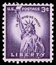 1954 3c Statue of Liberty Scott 1035 Mint F/VF NH - $0.99