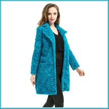 Retro Big Lapel Blue Rose Print Cut Faux Fur Long Trench Coat with Pockets