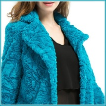 Retro Big Lapel Blue Rose Print Cut Faux Fur Long Trench Coat with Pockets image 2