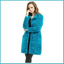 Retro Big Lapel Blue Rose Print Cut Faux Fur Long Trench Coat with Pockets image 3