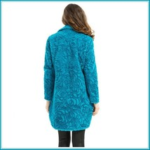 Retro Big Lapel Blue Rose Print Cut Faux Fur Long Trench Coat with Pockets image 5