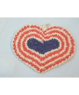 Vintage Double Layered Hand Crocheted Red White and Blue Hot Pad - $6.49
