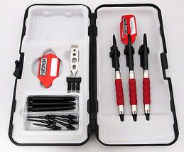 Red Pentathlon Slim Rubberized Sure Grip Soft Tip Dart Set + Case 16 gra... - $23.93