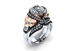 Skull Engagement Ring Set in 14 kt with White M... - $2,195.00