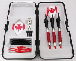 Red Canadian Leaf Standard Rubberized Sure Grip Soft Tip Dart Set + Case... - $23.93
