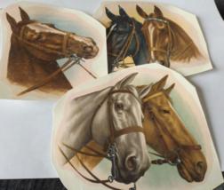 """3 Horses Waterslide Ceramic Decals 5"""" - Vintage - $4.75"""
