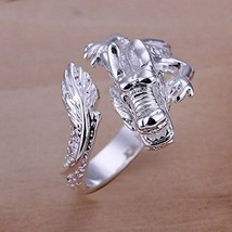 Unisex Fashion Jewelry 925 Sterling Silver Plated Dragon Ring Size 8 R054