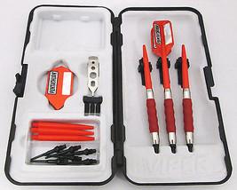 Red Pentathlon Slim Rubberized Sure Grip Soft Tip Dart Set + Case 18 gra... - $23.93