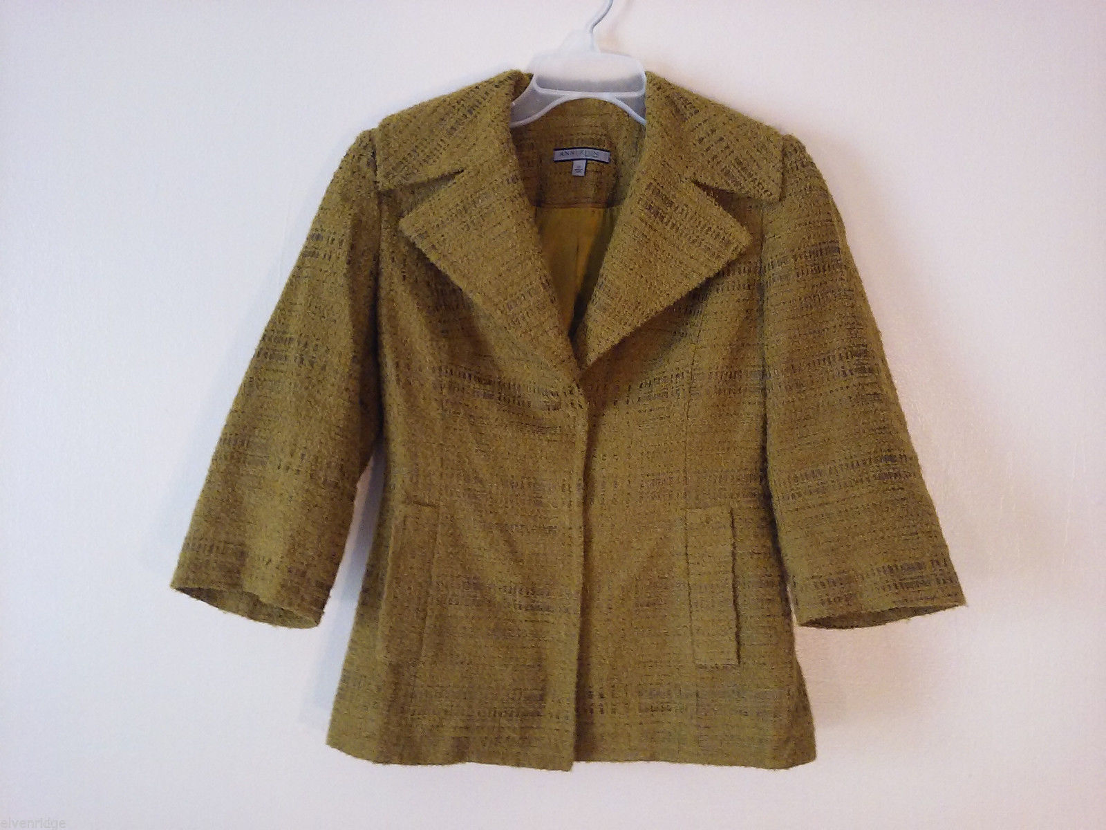 Anne Klein NY Women's Size 4 Petite 4P Blazer Jacket Pea Yellow-Green 3/4 Sleeve