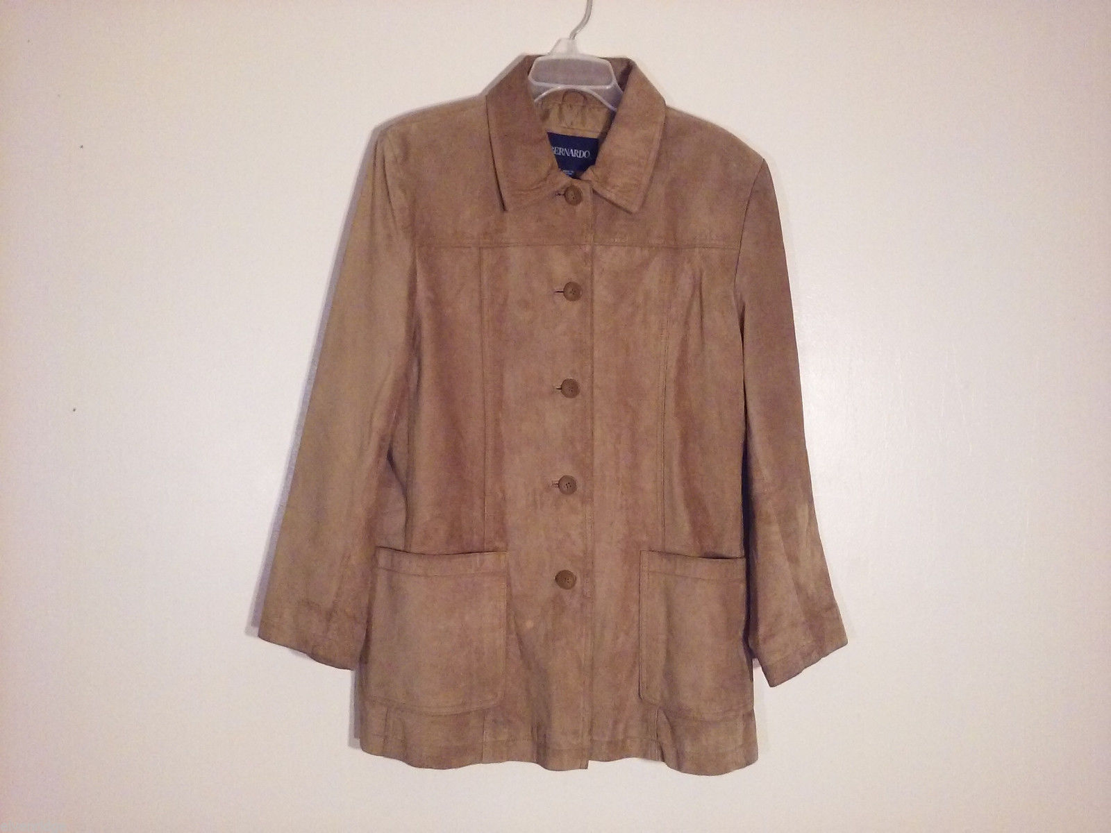 Bernado Women's Size XL Suede Coat Jacket Rich Brown Tan Caramel + Large Pockets