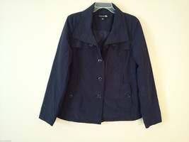 Forever 21 Women's Size L Jacket Coat Dark Navy Blue Convertible Button Collar