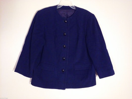 British Tailor Women Plus Size 1X Jacket Coat ¾ Sleeve Plush Dark Blue No Collar