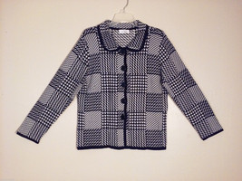 Christopher & Banks Women's Size M Petite Short Jacket Houndstooth Black & White