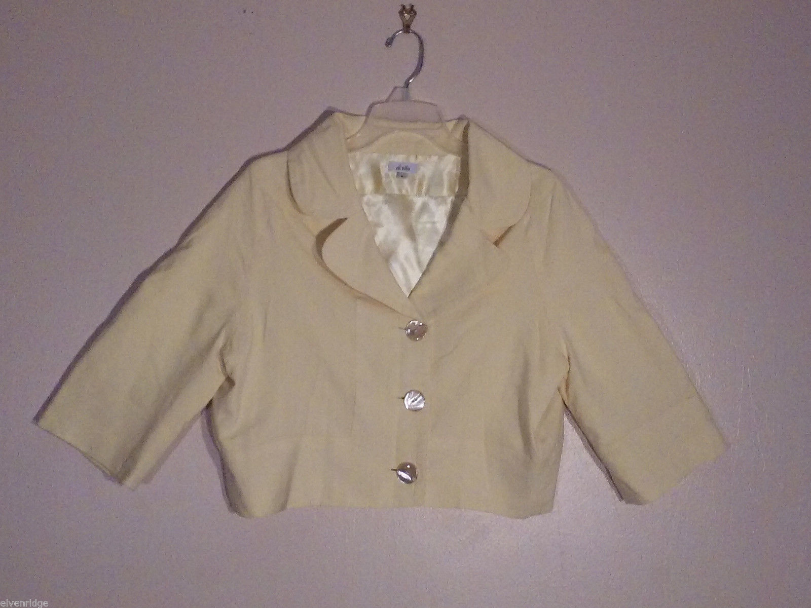 Di Vita Women's Size 6 Jacket Bolero Short Cropped Pastel Butter Yellow ¾ Sleeve