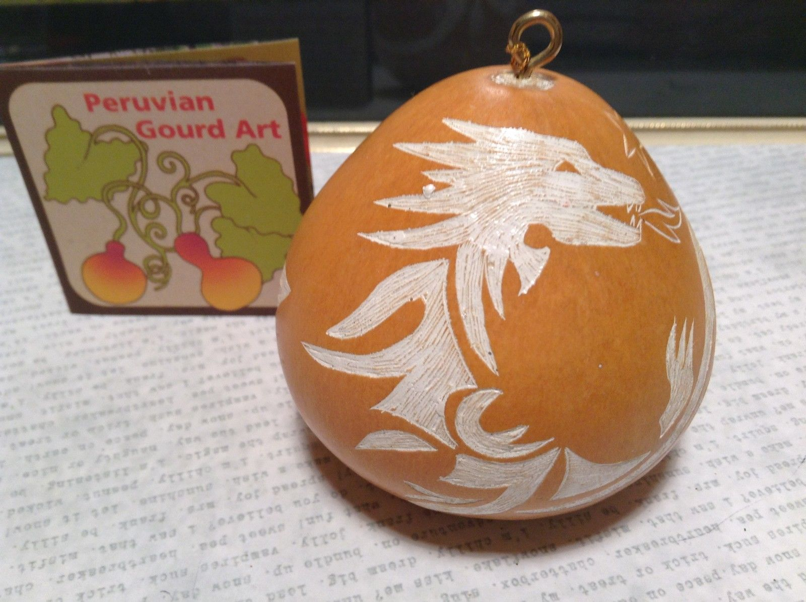 Hand Carved Peruvian Gourd Art Yellow White Dragon Lucuma Designs Fair Trade