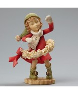 Heart of Christmas girl elf playing hula hoop with Wreath   New in Box - $39.99