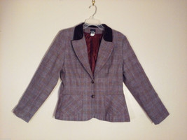 That's Me Junior Girl's Size 13 Sport Jacket Velvet Collar Purple & Red Plaid