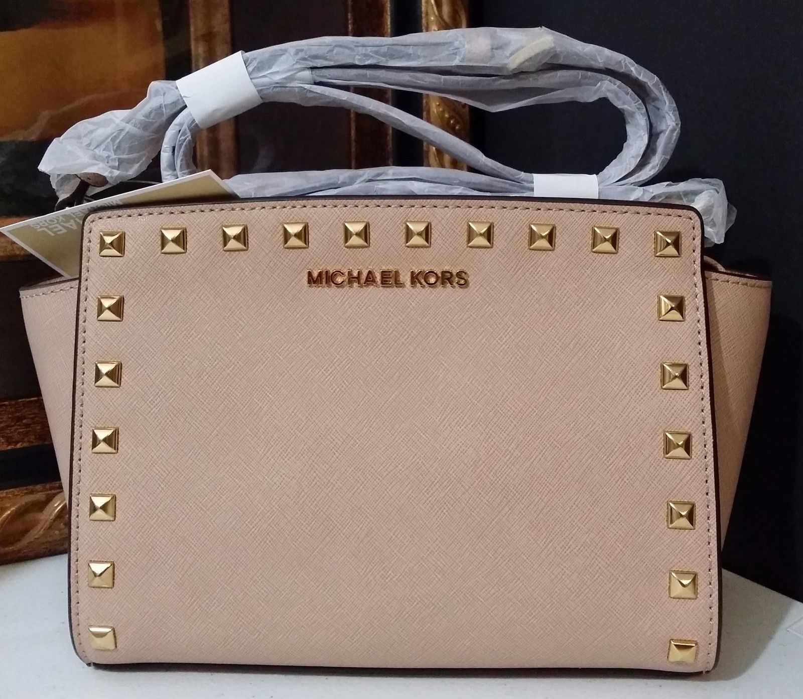 NWT Michael Kors Selma Stud Medium Messenger Saffiano Leather Blush MSRP $248
