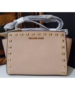 NWT Michael Kors Selma Stud Medium Messenger Saffiano Leather Blush MSRP... - $189.05